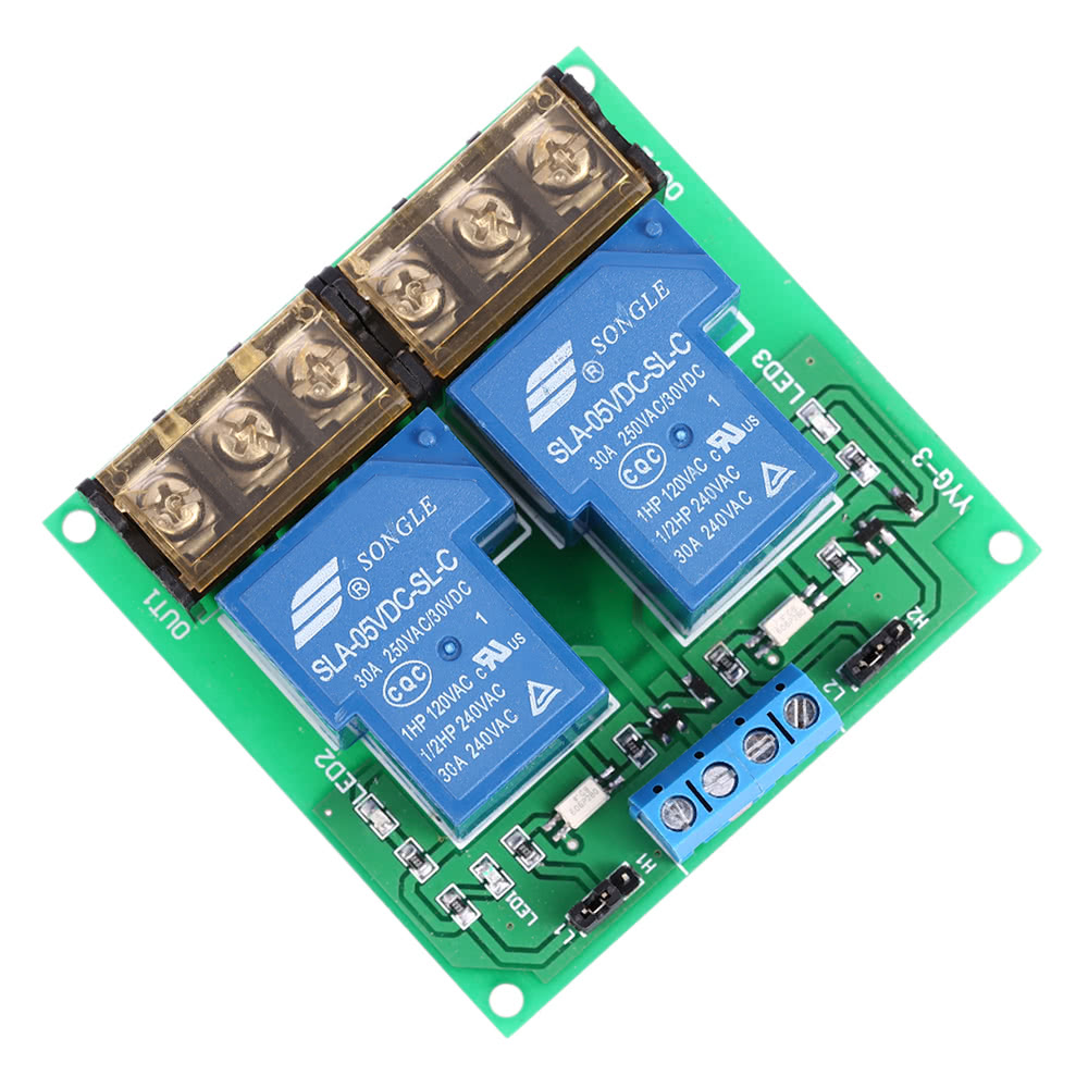 2Channel DC 30A Relay Board Module Optocoupler Isolation High//Low Trigger W5D1